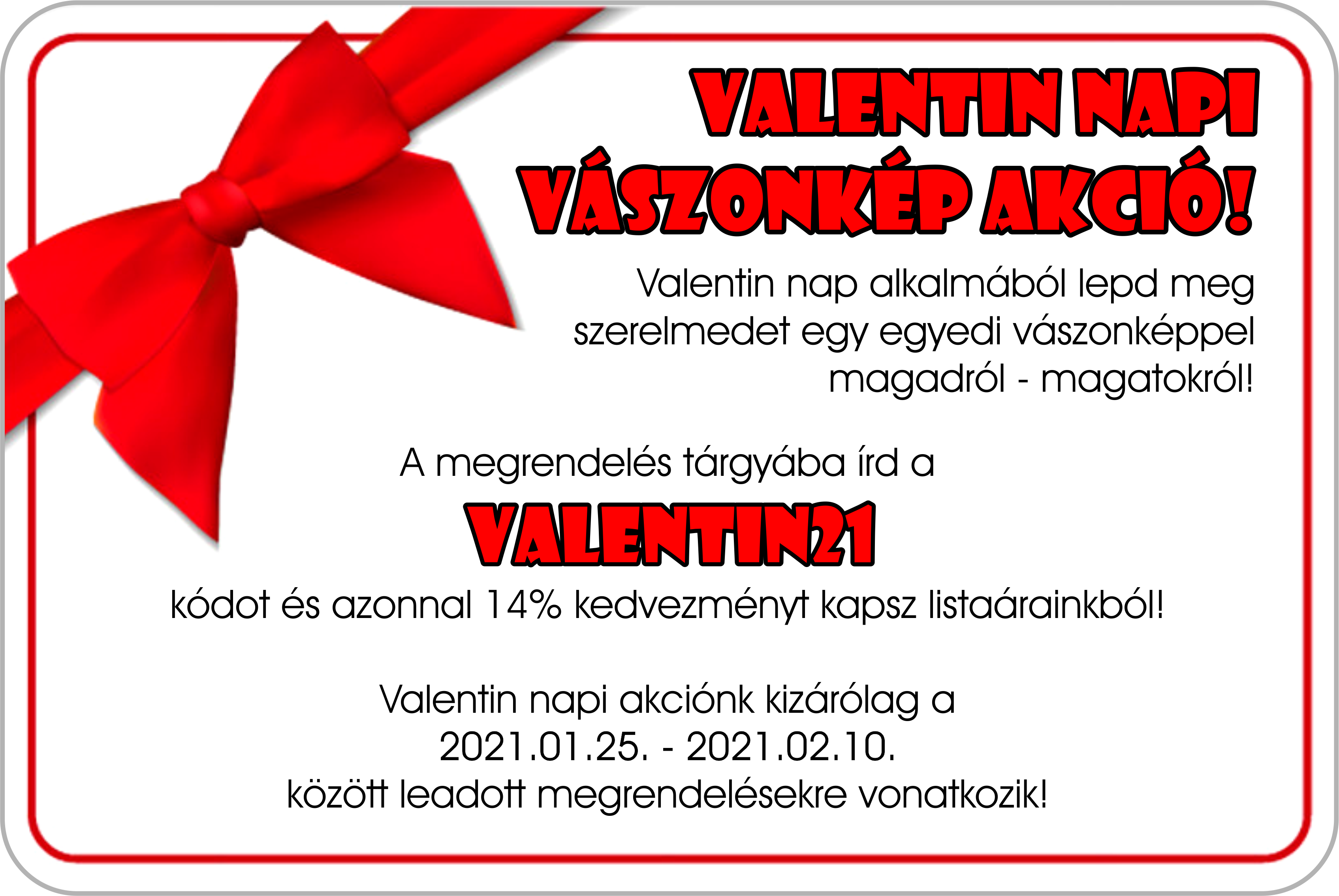 Valentin napi vászonkép akció